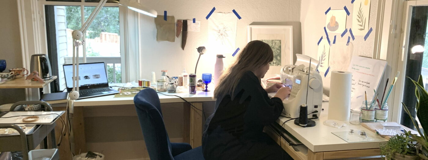 Carly Owens at work at her studio at House of Serein Boulder