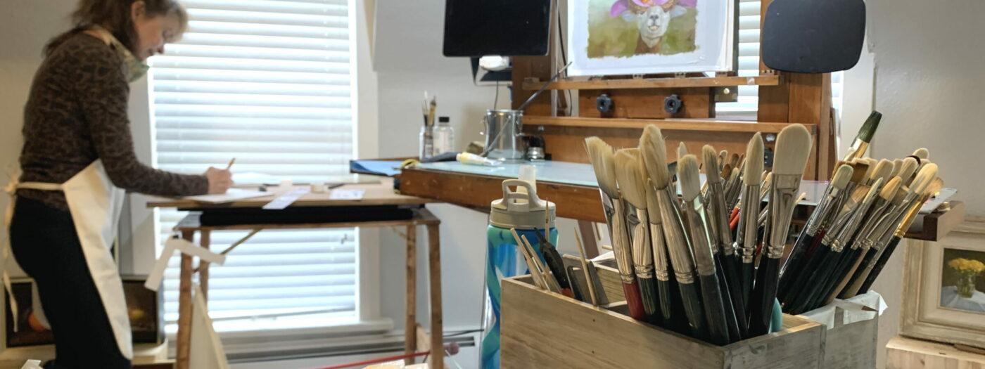 Cindi Yaklich at work at her studio at House of Serein Boulder
