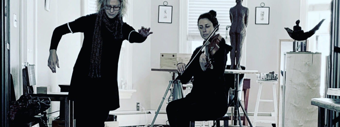 Julie Rothschild and Emily Bowman at House of Serein at rehearsal for Among Flowers in Bloom